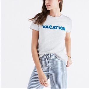Madewell white t-shirt vacation embroidered sz:M